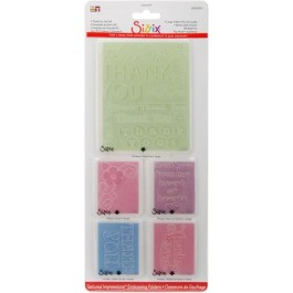 DC144: Sizzix Textured Impressions Embossing Folders 5/Pkg - Thank You #2