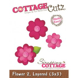 DC421: CottageCutz Die 3 X3 -Layered Flower 2 Made Easy