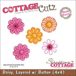 DC430: CottageCutz Die 4 X4 -Layered Daisy With Button Made Easy