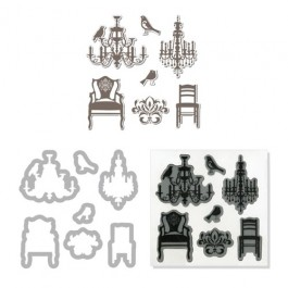 DC626: Sizzix Framelits Die Set 7PK w/Stamp - CHANDELIERS BY HERO ARTS