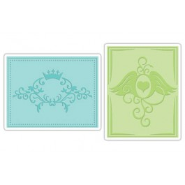 DC679: Sizzix Embossing Folders 2PK - CROWN FLOURISH HEART WINGS SET