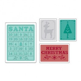 DC687: Sizzix Embossing Folder 4PK - CHRISTMAS SET #8