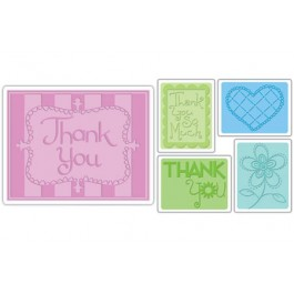 EM033: Sizzix Textured Impressions Embossing Folders 5/Pkg - Thank You #3