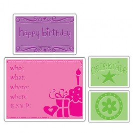 EM034: Sizzix Embossing Folders 4PK - BIRTHDAY SET