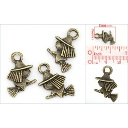 K02111: Charm Pendants Witch Bronze 15x10mm, 20 pieces