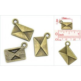 K02290: Charm Envelope Bronze 18x15mm, 100 pieces