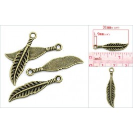 K02384: Charm Leaf Bronze 31x7mm, 50 pieces