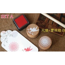 MC102(A): Lace series 2 wood round stamp set A