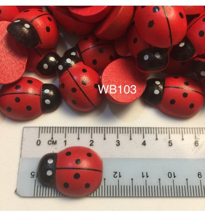 WB103: Dyed Ladybug Wood Cabochons 24x17mm, 25 pieces [ A15 ]