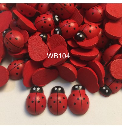 WB104: Dyed Ladybug Wood Cabochons 19x15mm, 50 pieces [ A12 ]
