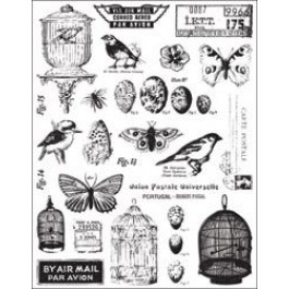 SM270: 7 Gypsies Clear Stamps CONSERVATORY Bird Butterfly Cage