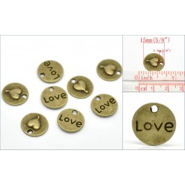 B19511: Bronze Round Love Charm 15mm, 50 pieces