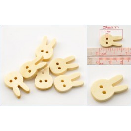 B21769: Rabbit Head Wood Buttons 20x13mm, 200 pieces [ B17 ]