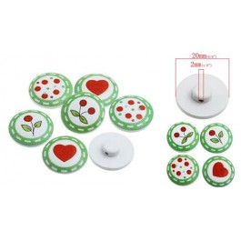 B32763: Wood Buttons White Green Mixed Pattern 20mm, 50 pieces [ C11 ]