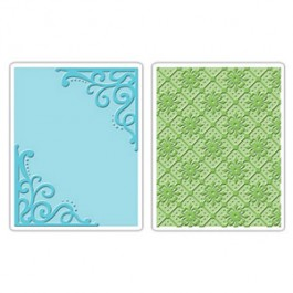 DC571: Sizzix Embossing Folder 2PK - CORNERS LATTICE SET