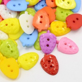 MC159: Acrylic Strawberry Buttons 14x21mm, 100 piece/pack [ A15 ]