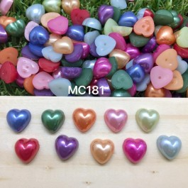 MC181: Acrylic Pearl Cabochons Heart 10.5x10.5mm, 100 pieces [ B1 ]