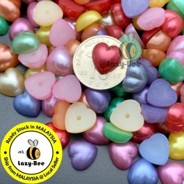 MC181: 100 pieces 10.5x10.5mm Acrylic Pearl Cabochons Heart DIY craft Wedding Scrapbook Handmade