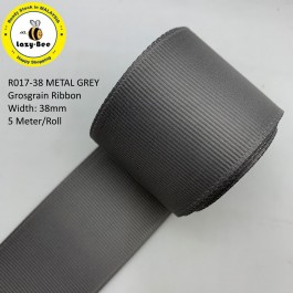 R017-38: METAL GREY: Grosgrain Ribbon 38mm, 5 meter