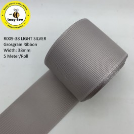 R009-38: LIGHT SILVER: Grosgrain Ribbon 38mm, 5 meter