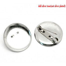 B18410: Silver Round Brooches 29mm (Fit 28mm), 50 pieces [ B11 ]