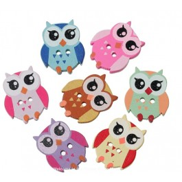 B39258: 50 pieces 21x17mm Wood Buttons Owl Halloween Mixed DIY Sewing Craft Scrap Book [ C11 ]