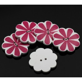 B22627: Wood Buttons Flower White Fuchsia 37x37mm, 20 pieces [ B6 ]