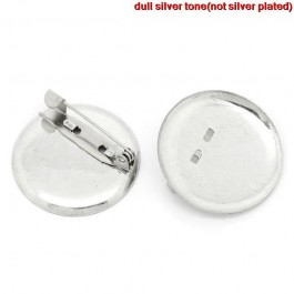 B30819: Brooches Round Silver Setting(Fits 28.5mm Dia) 29mm, 100 pieces [ C07 ]