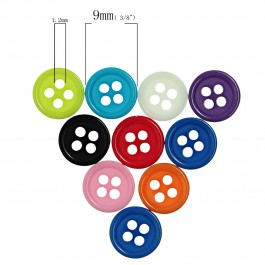 B80379: Resin Buttons 4 Holes Mixed 9mm, 500 pieces [ A12 ]