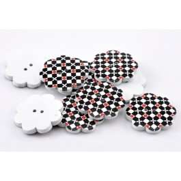 B22008: Black Flower Wood Buttons 38x38mm, 20 pieces [ C12 ]