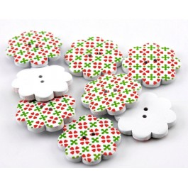 B22011: Flower Wood Buttons 38x38mm, 20 pieces [ C12 ]