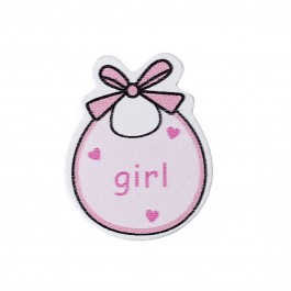 B43902: Baby Bib Pink girl 3.4cm x 2.7cm, 50 pieces [ C11 ]