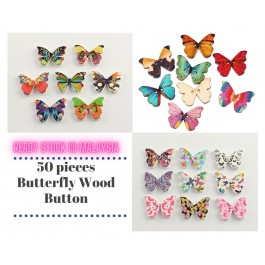 B44256: 50 pcs 28x21mm Wood Sewing Buttons Scrapbook 2 Holes Butterfly At Random Flower Pattern [ A7 ]