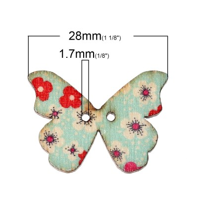 B44257: Wood Button Mixed Butterfly 28x21, 50 pieces [ A7 ]