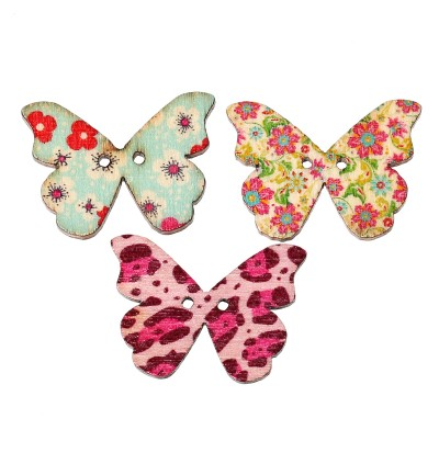 B44257: 50 pieces 28x21mm Wood Sewing Buttons Scrapbook 2 Holes Butterfly At Random Flower Pattern [ A7 ]