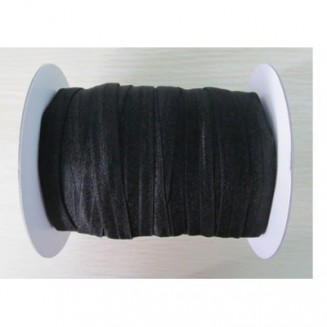 ER054: BLACK: FOE Fold Over Elastic Ribbon DIY Stretch Baby Headband Hair Tie Accessories Webbing 15mm, 5 meter
