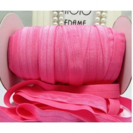 ER055: HOT PINK: FOE Fold Over Elastic Ribbon DIY Stretch Baby Headband Hair Tie Accessories Webbing 15mm, 5 meter