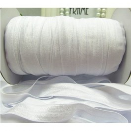 ER056: WHITE: FOE Fold Over Elastic Ribbon DIY Stretch Baby Headband Hair Tie Accessories Webbing 15mm, 5 meter