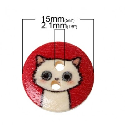 B44839: 100 pieces 15mm Wood Sewing Buttons Scrapbook Round At Random 2 Holes Cat Pattern DIY Craft [ B8 ]