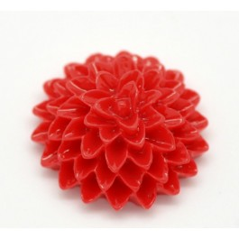 B15899: Red Resin Flower 15x6mm, 100 pieces [ C14 ]