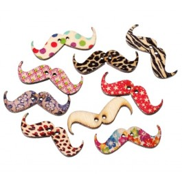 B44263: Wood Button Mustache Mixed 31x11mm, 50 Pieces [ C07 ]