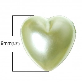 B35934: Acrylic Heart Green 9mm x 9mm, 500 pieces [ B7 ]