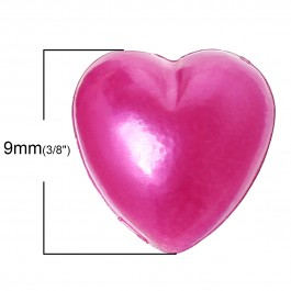 B35936: Acrylic Heart Fuchsia 9mm x 9mm, 500 pieces [ B7 ]