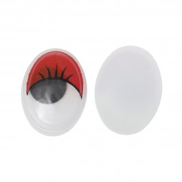 B35242: Wiggle Eyes Oval Flatback Red 17mm, 50 pieces