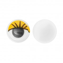 B35233: Wiggle Eyes Round Flatback Yellow 10mm, 50 pieces/pack