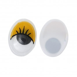 B35243: Wiggle Eyes Oval Flatback Yellow 17mm, 50 piece/pack