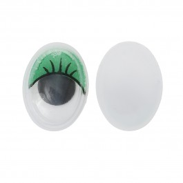 B35241: Wiggle Eyes Oval Flatback Green 17mm, 50 pieces/pack