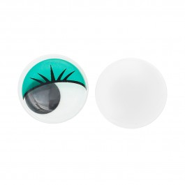 B35232: Wiggle Eyes Round Flatback Green 10mm, 50 pieces/pack