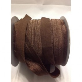 ER004: BROWN: FOE Fold Over Elastic Ribbon DIY Stretch Baby Headband 15mm, 5 meter