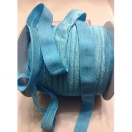 ER010: MISTY TURQUOISE: FOE Fold Over Elastic Ribbon DIY Stretch Baby Headband Hair Tie Accessories Webbing 15mm, 5 meter